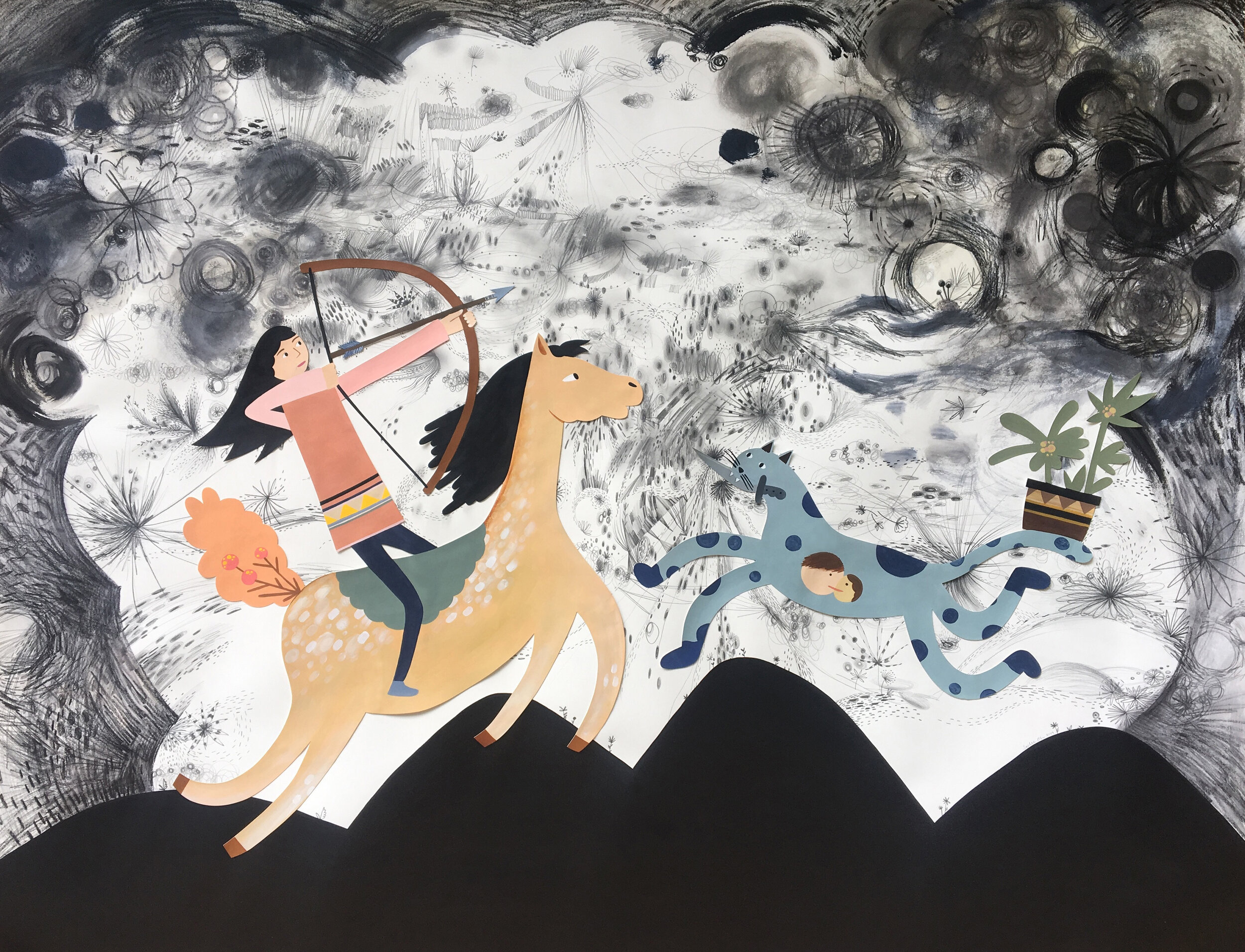 Warrior Huntress  - 2019, acrylic, gouache, graphite, watercolor pencil on paper, 55 x 70 inches unframed, 60 x 75 inches framed