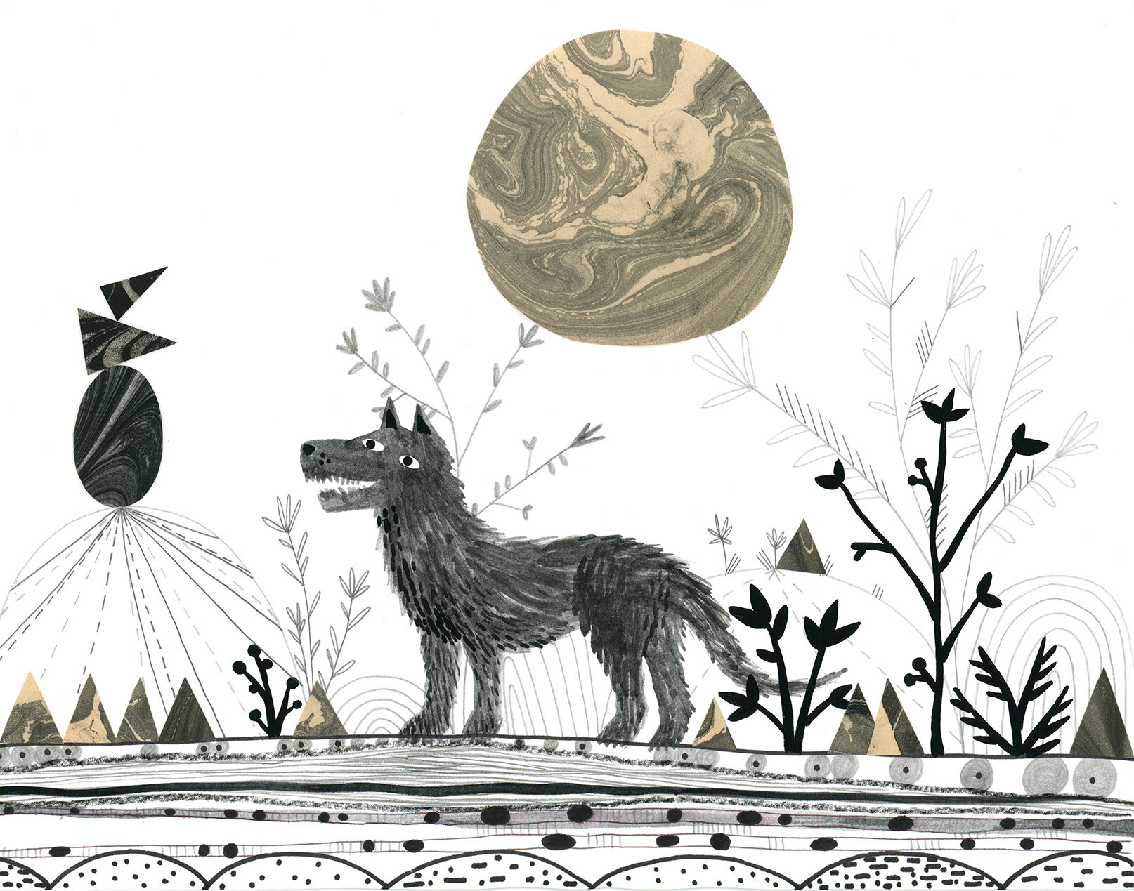 Wolf Moon  - 2019, hand marbled paper, graphite, china marker on paper, 8.5 x 11 inches - private collection