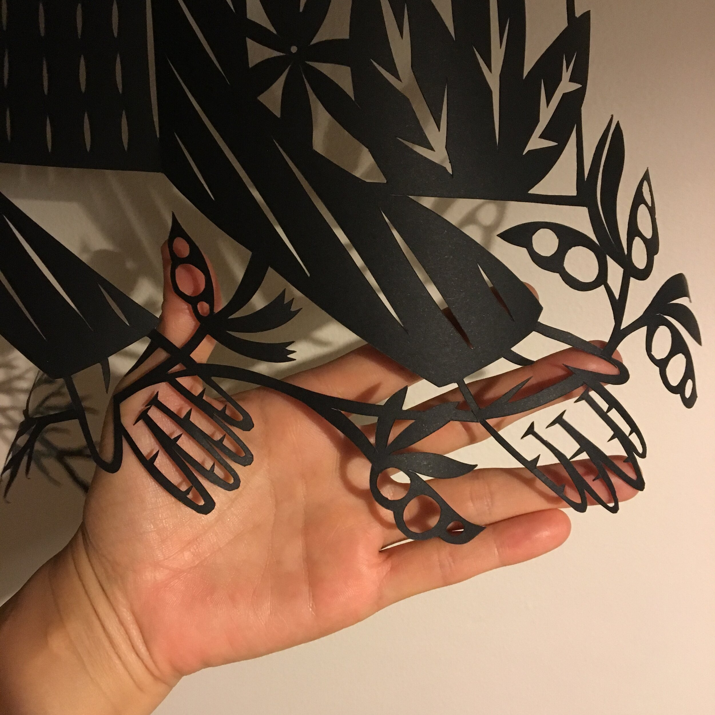 Shadows  - in progress to show scale, hand cut paper