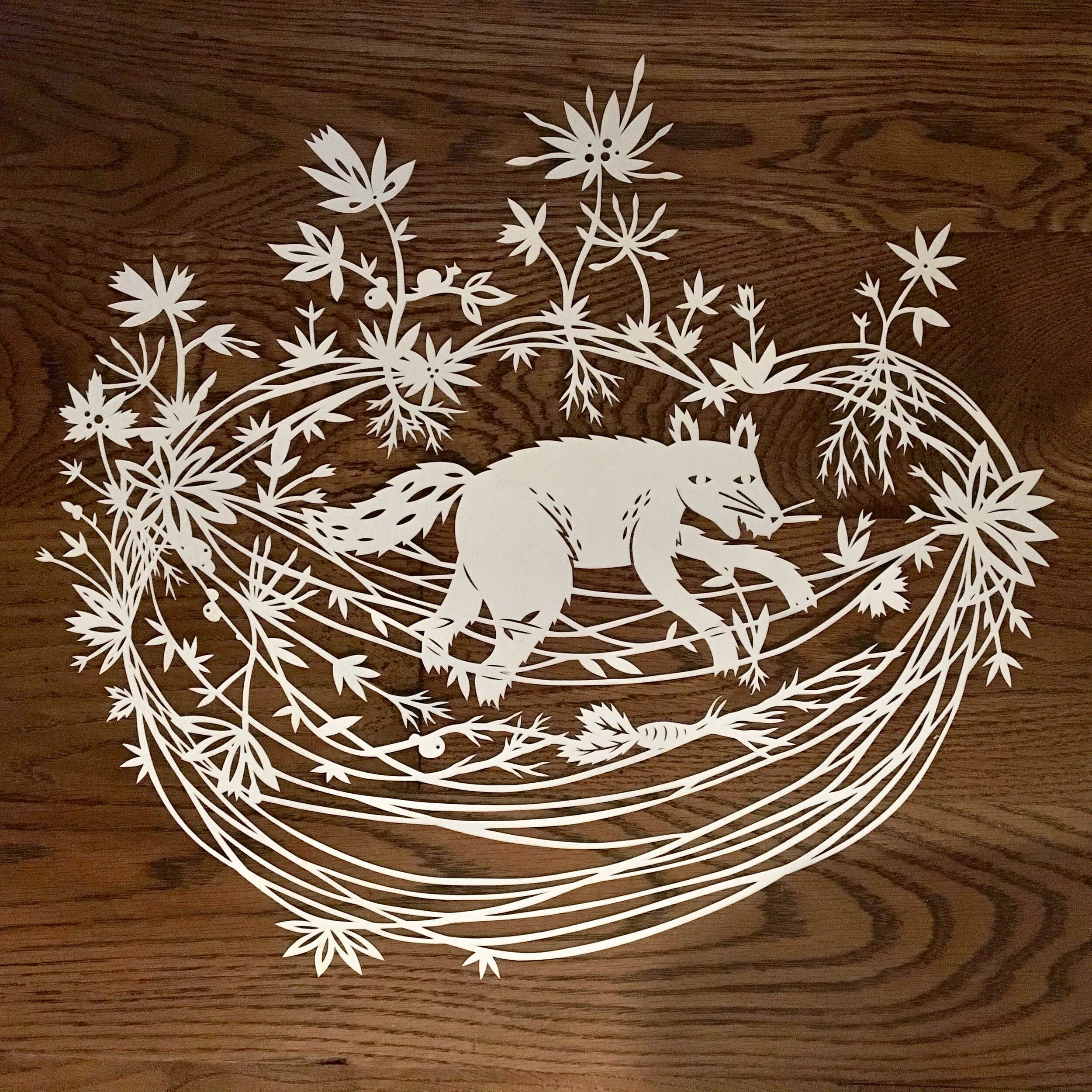 Wolf in Tangles  - 2018, approx. 16 x 18 inches, hand cut paper - work in progress