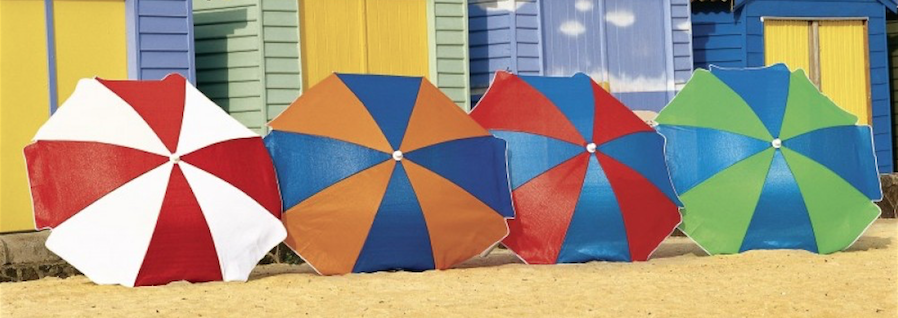 Beach Umbrellas for hire in Noosa. Cover Factor of 84% - 90%  1.85 m diameter breathable canopy. Screw in Design. 2.85 kg