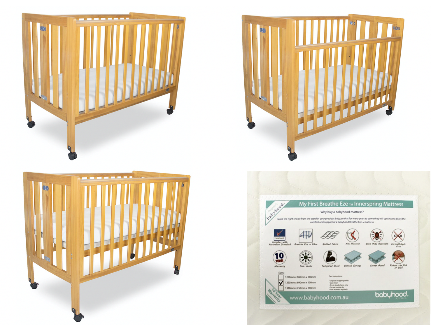 Wooden Cots with Inner spring Mattress for hire in Noosa
