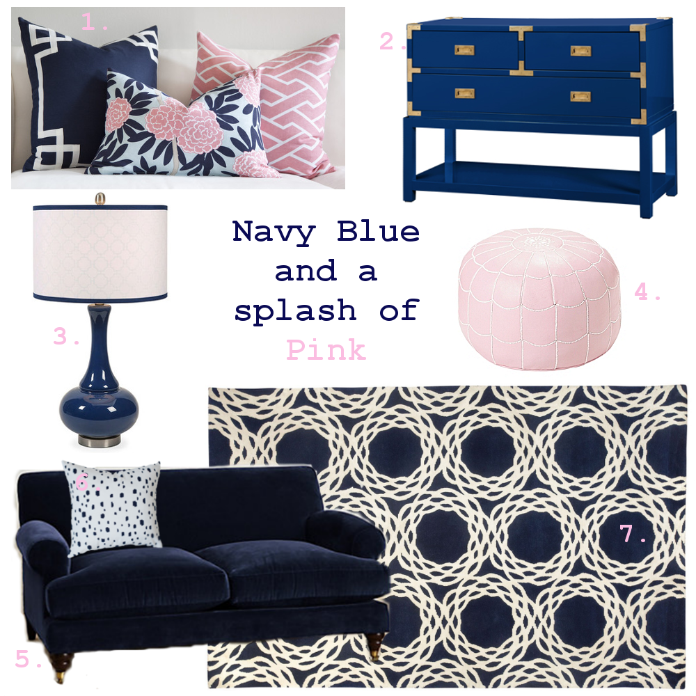 Navy Blue and a Splash of Pink. Image source:  Nicole Therese Design