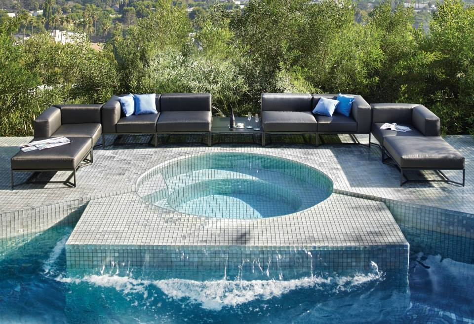 Lounge by the pool with Gloster Block Collection