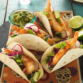 BEER BATTERED PRAWN TACOS IN CRISPY BAKED TORTILLAS