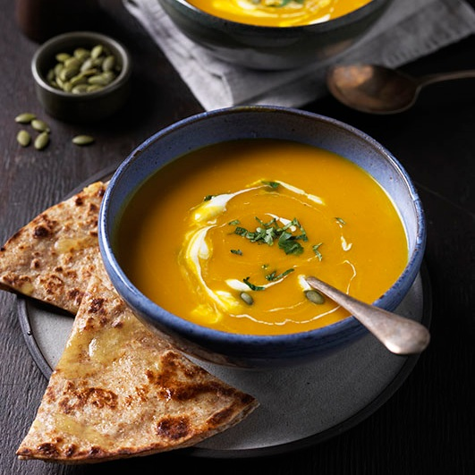 PUMPKIN SOUP WITH ROTI