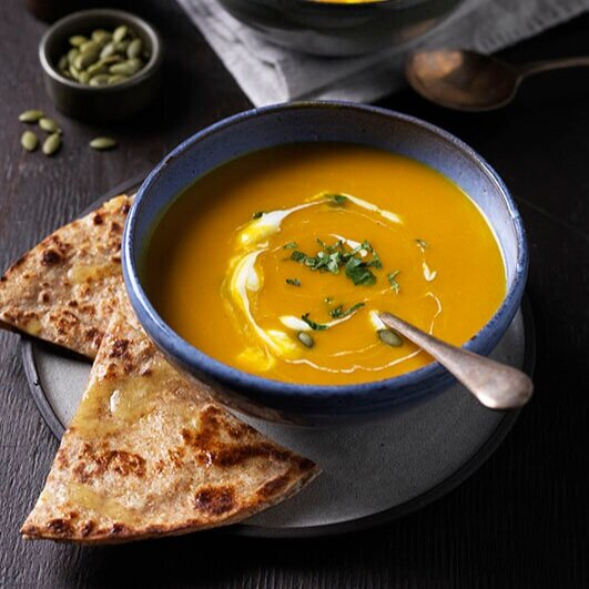 PUMPKIN SOUP WITH CHEESY WRAPS