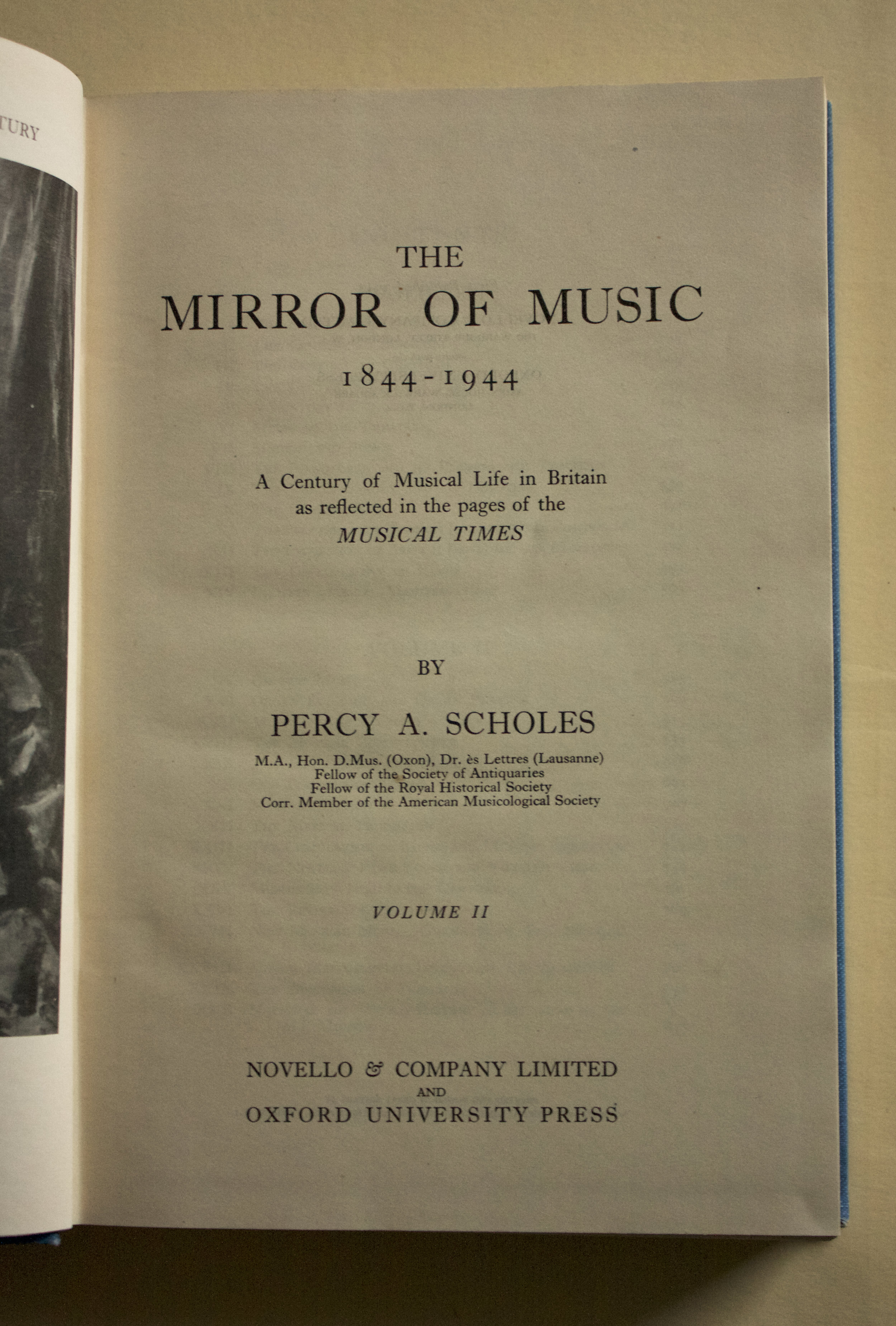 Copy of The Mirror of Music 1844-1944 in 2 volumes by Percy A. Scholes (Novello & Co. Ltd. and O.U.P., 1947)