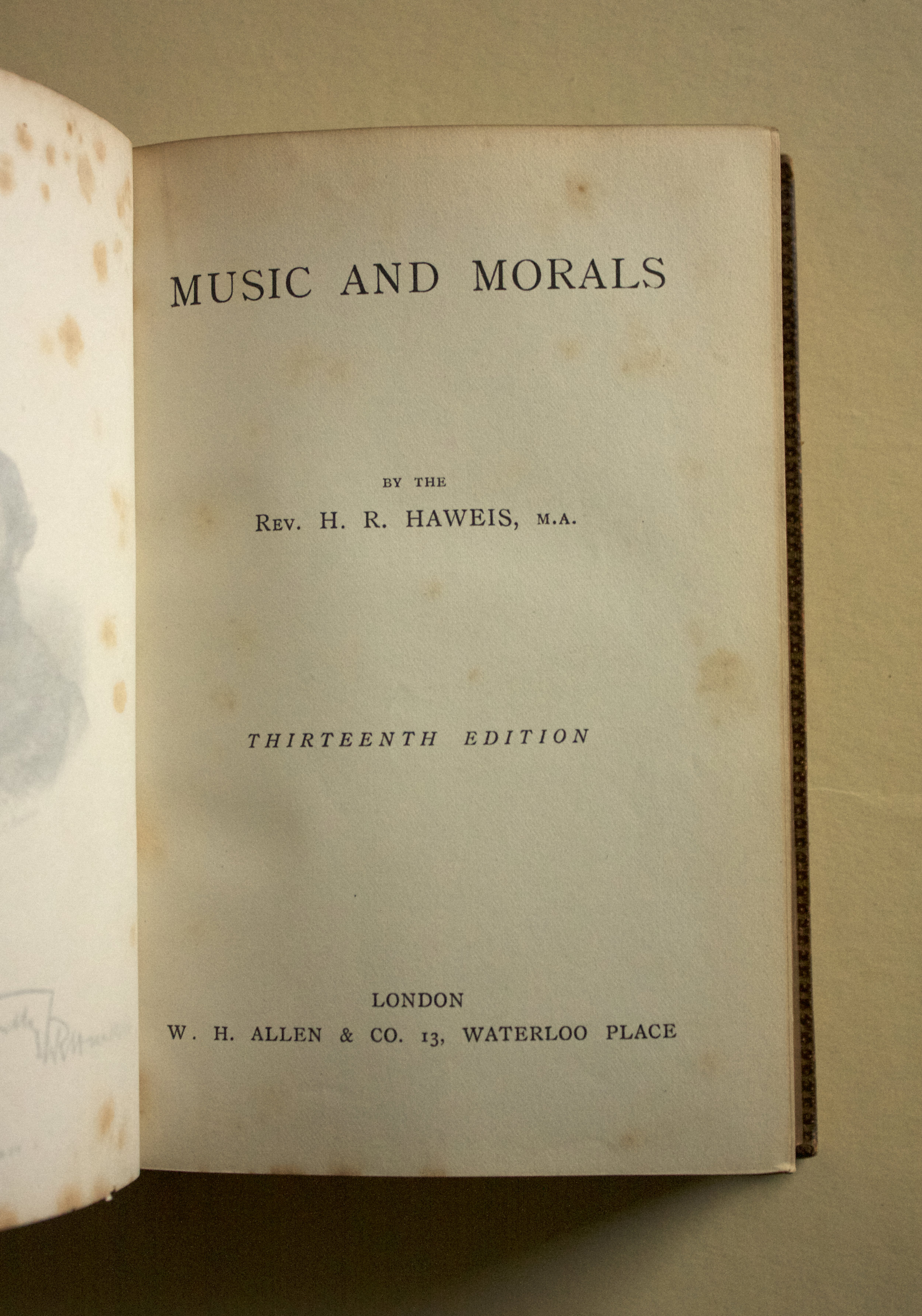 "Copy of ""Music and Morals"" (13th edition) by Rev. H. R. Haweis (W. H. Allen, 1883)"