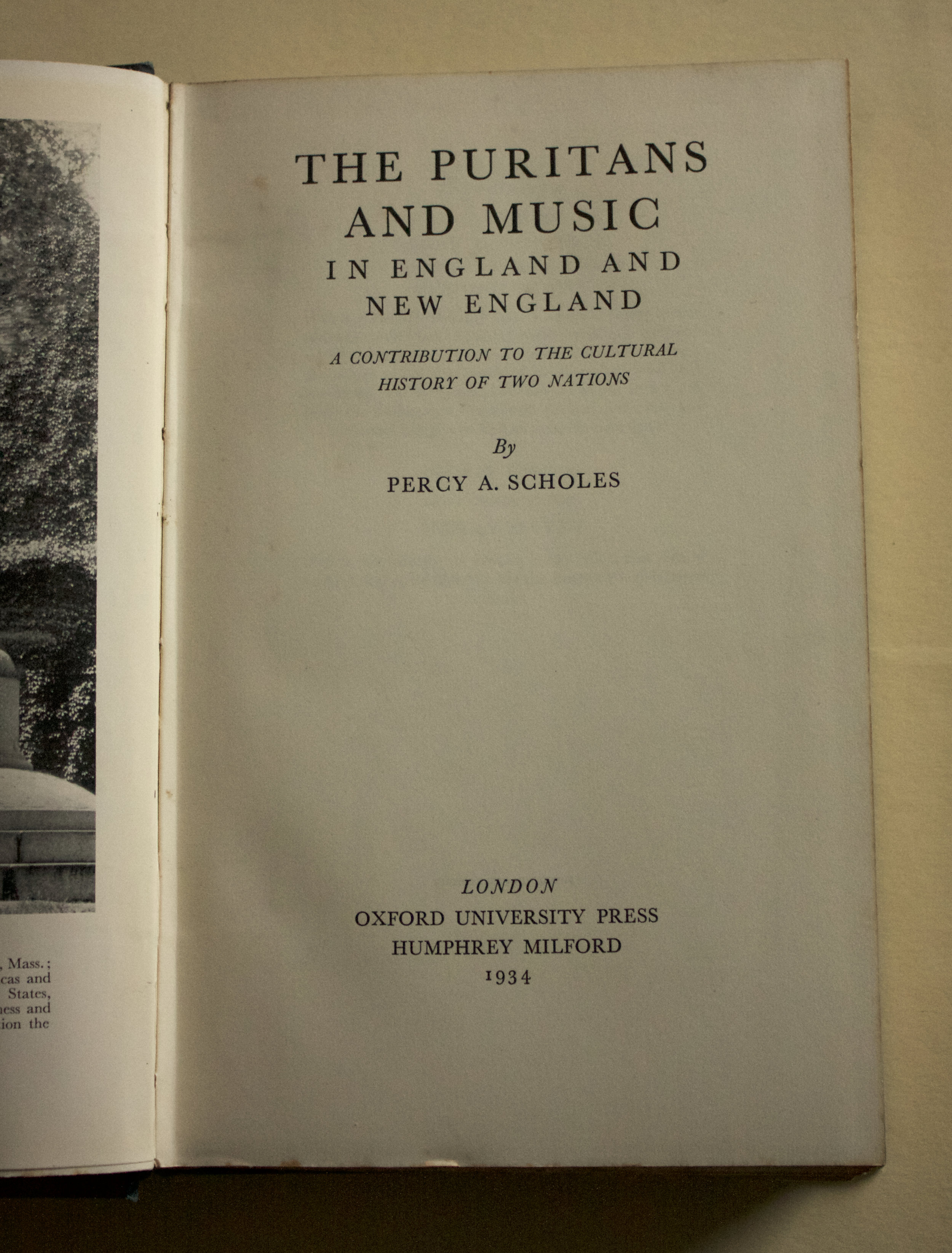 "Copy of ""The Puritans and Music in England and New England: A Contribution to the Cultural History of Two Nations"" by Percy A. Scholes (OUP, 1934)"