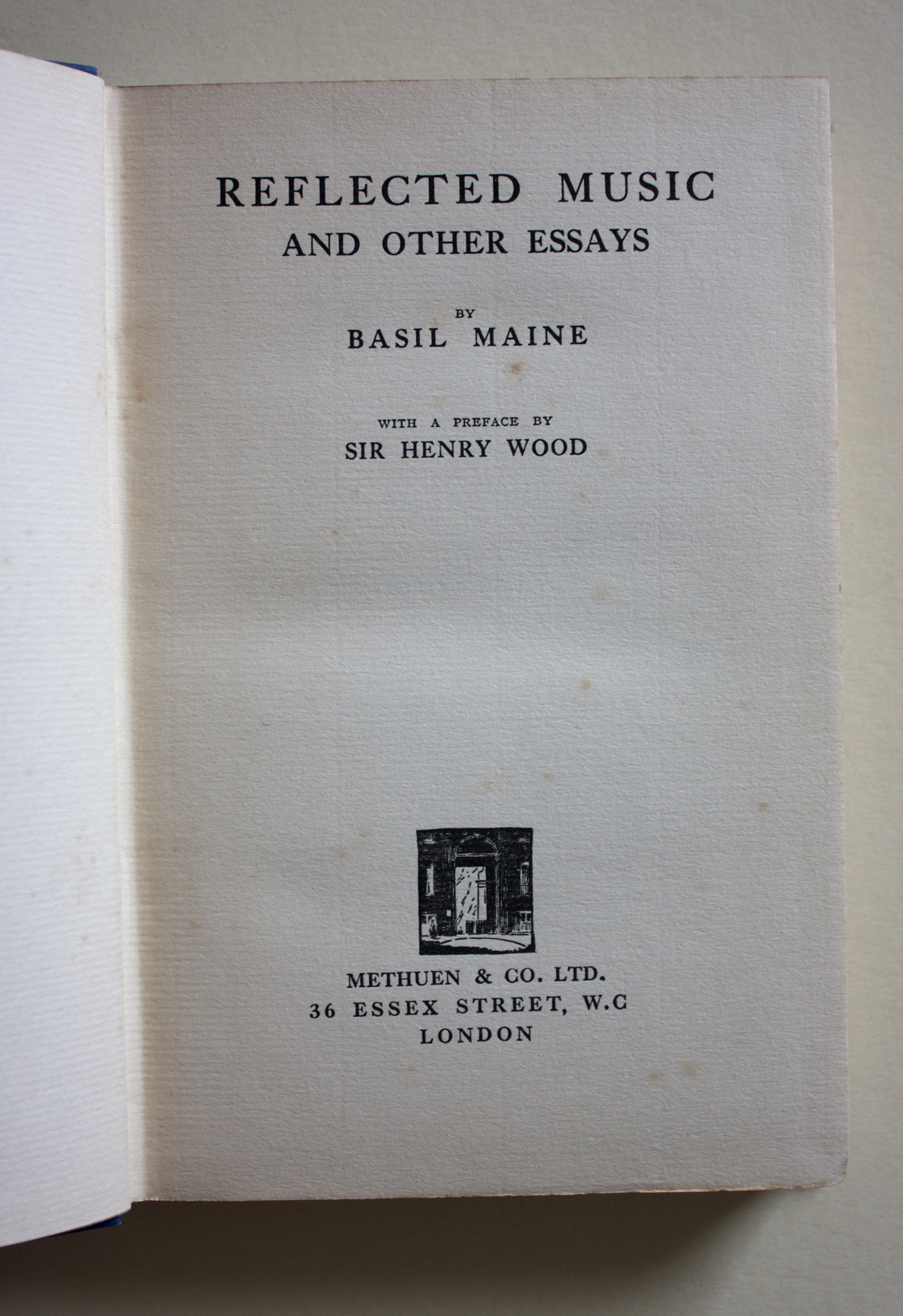 "Copy of ""Reflected Music and Other Essays"" by Basil Maine (Methuen and Co. Ltd, 1930)"