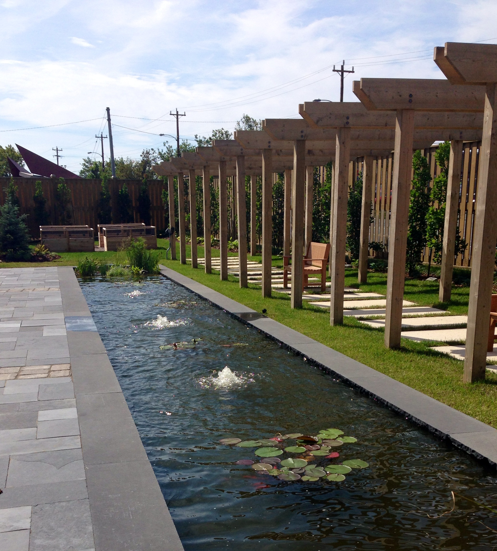 Pond with fountains, lilies and accessible vegetable gardens in background.jpg