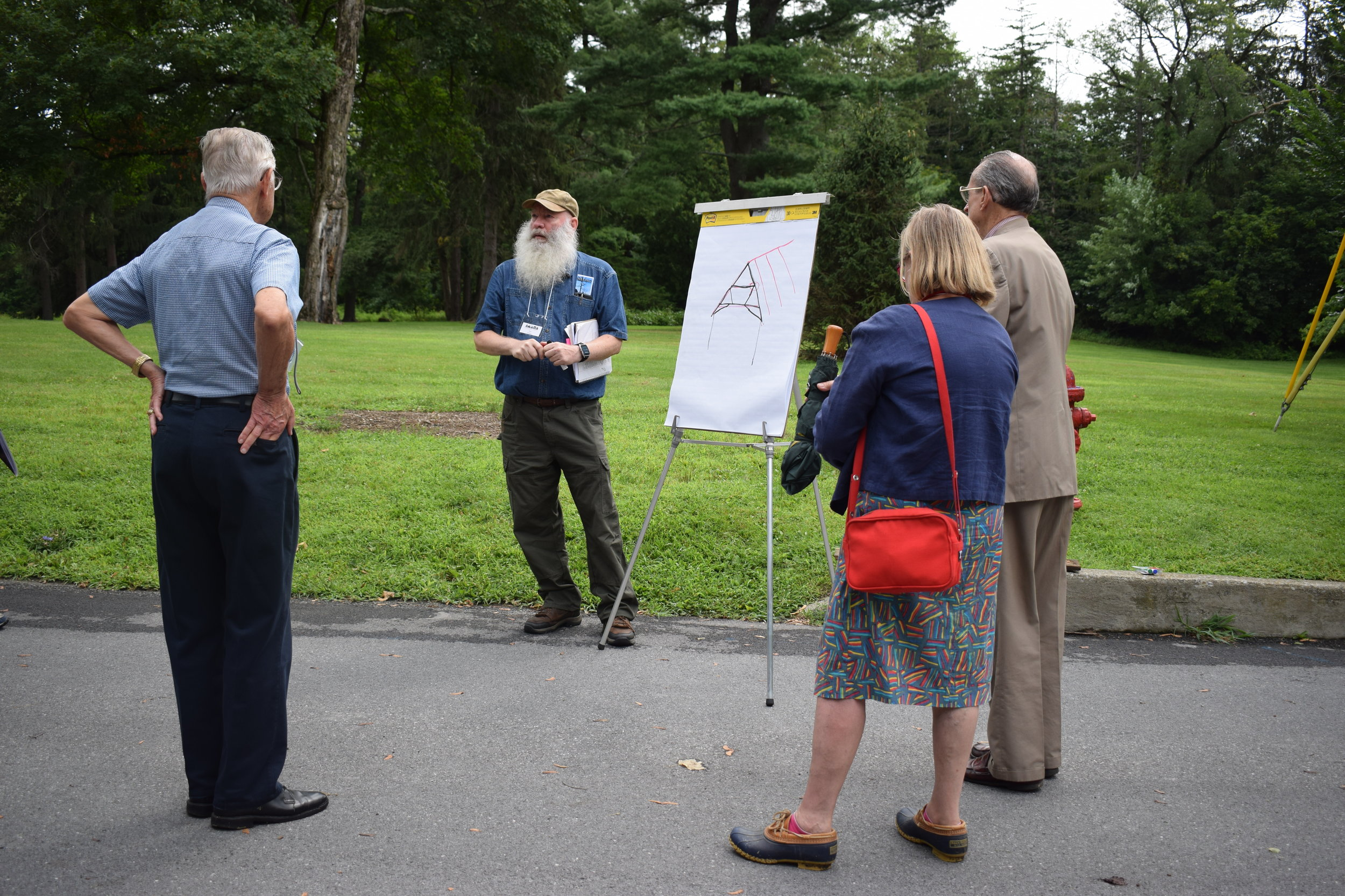 Project Manager Ken Follett leads a special preservation tour exploring the Jean Hasbrouck House roof restoration project