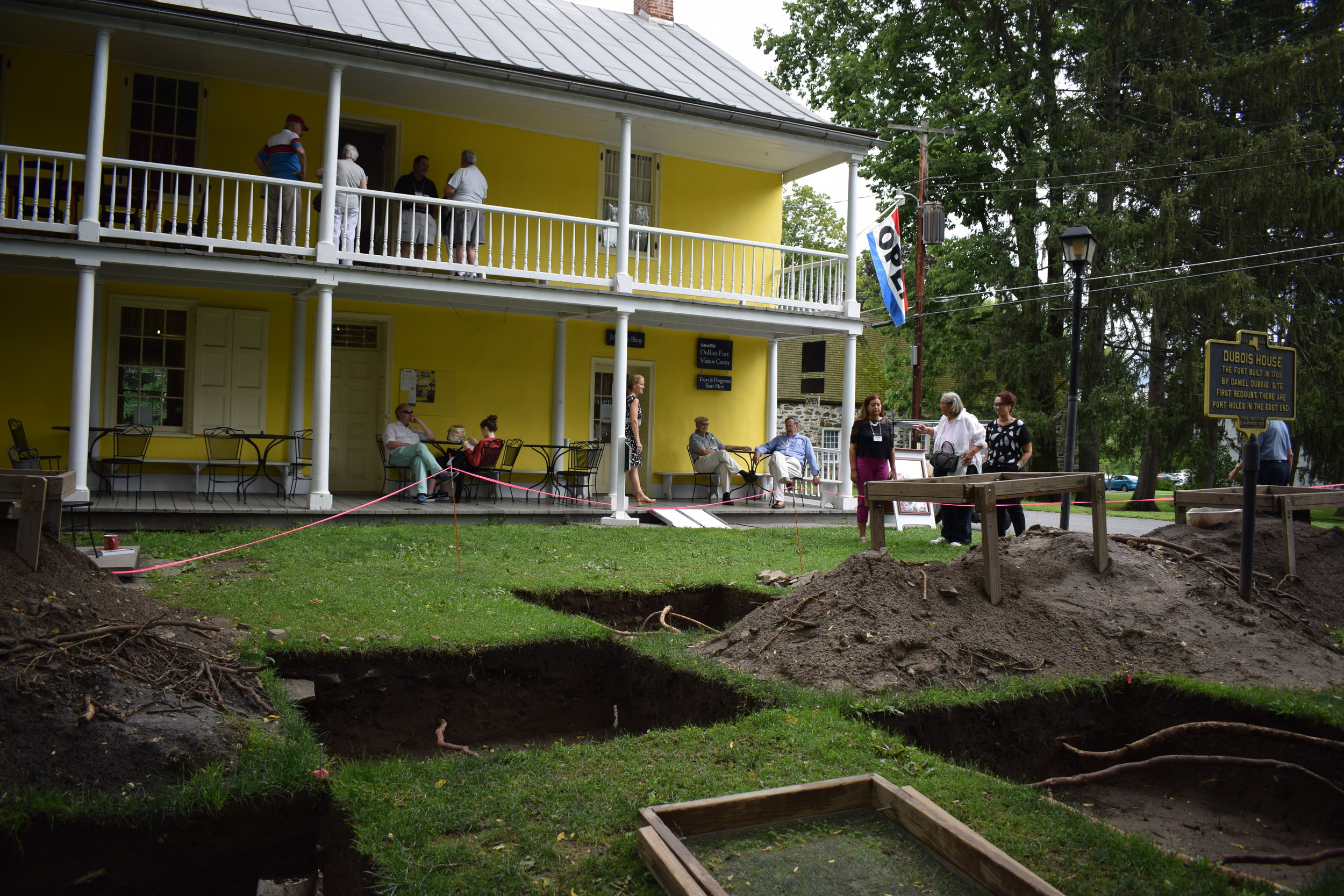An archaeological dig in progress, being conducted by Dr. Joseph Diamond's Archaeological Field School from SUNY New Paltz