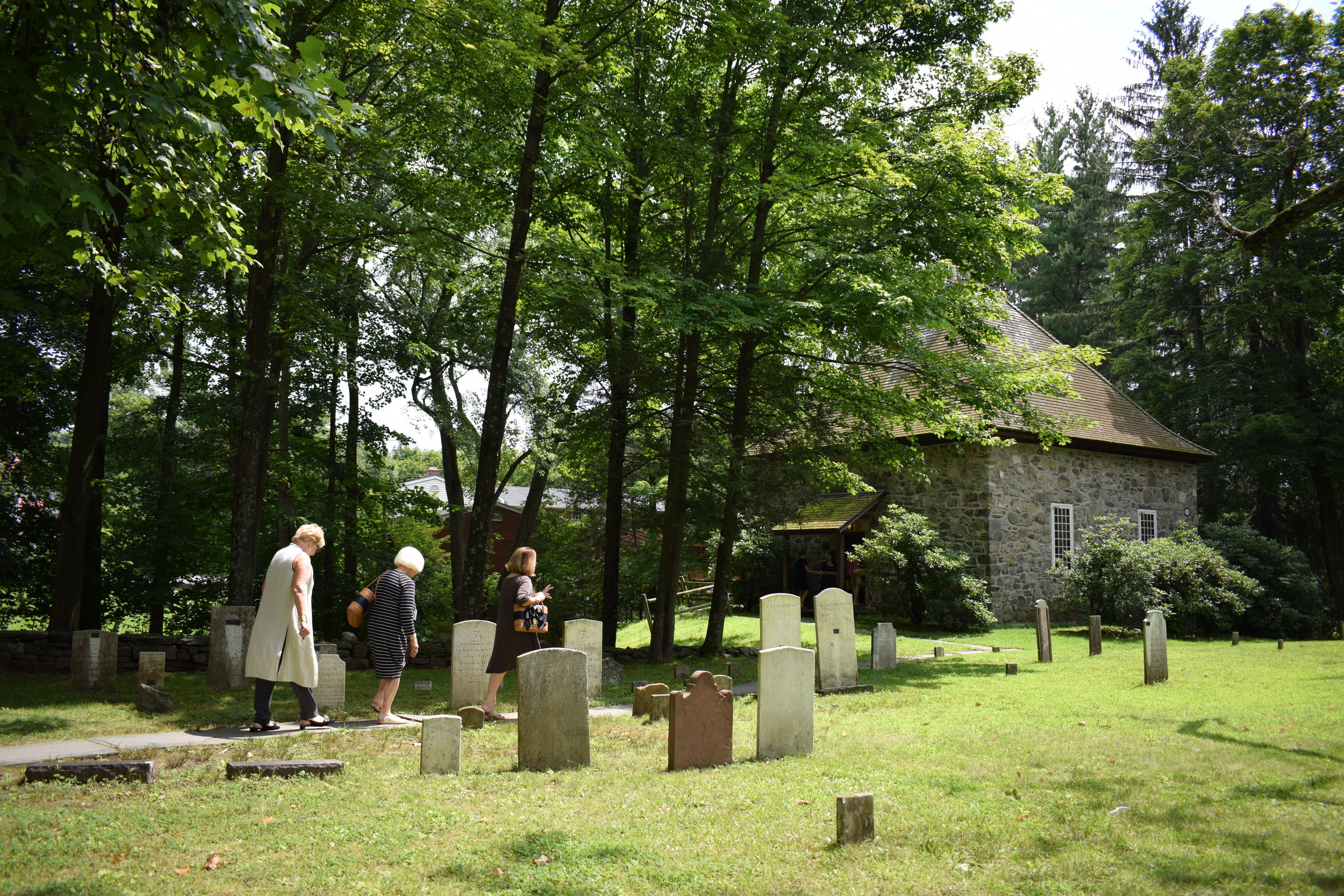 Guests make their way to the Crispell Memorial French Church