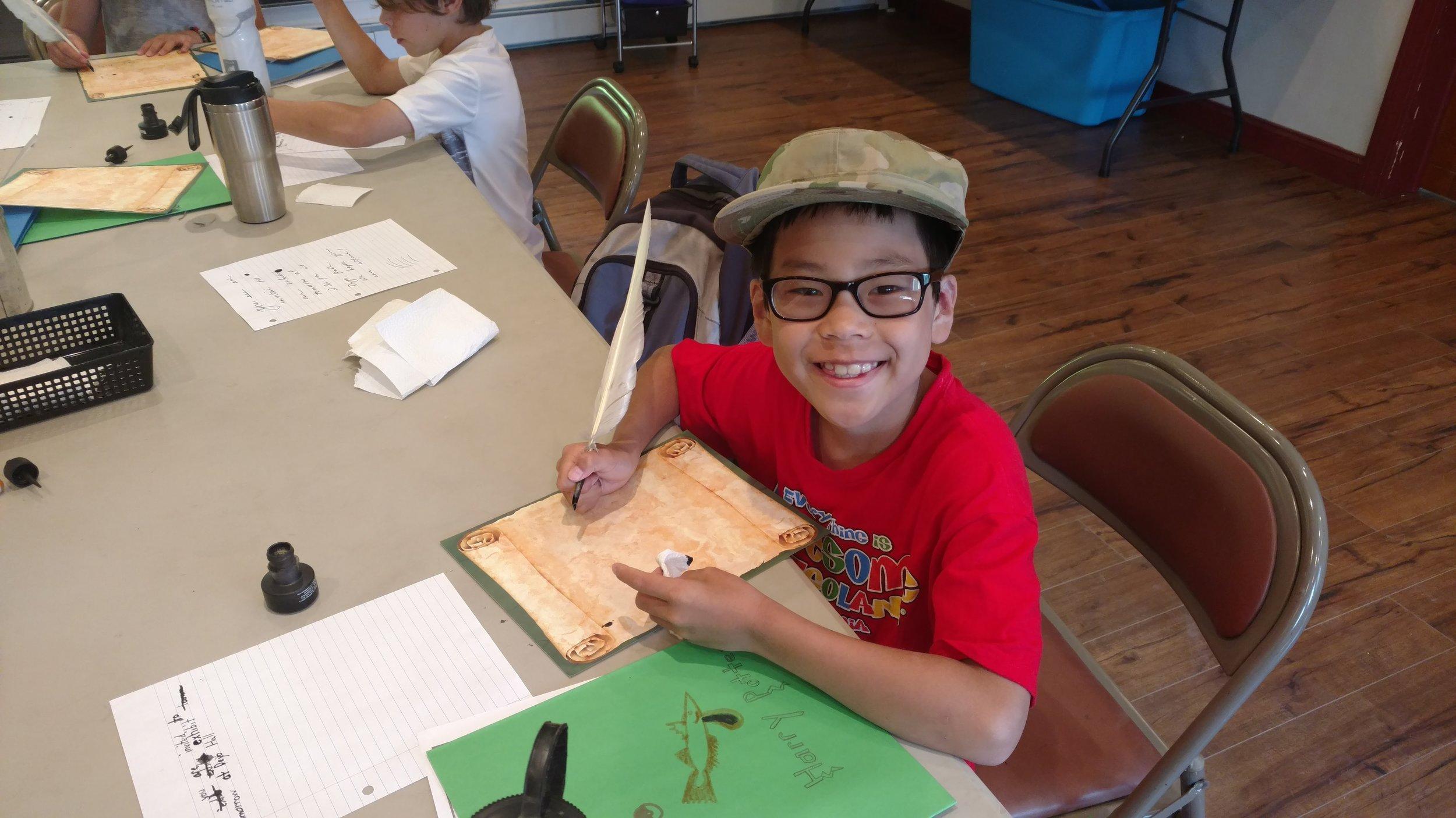 Quill writing at Camp Huguenot