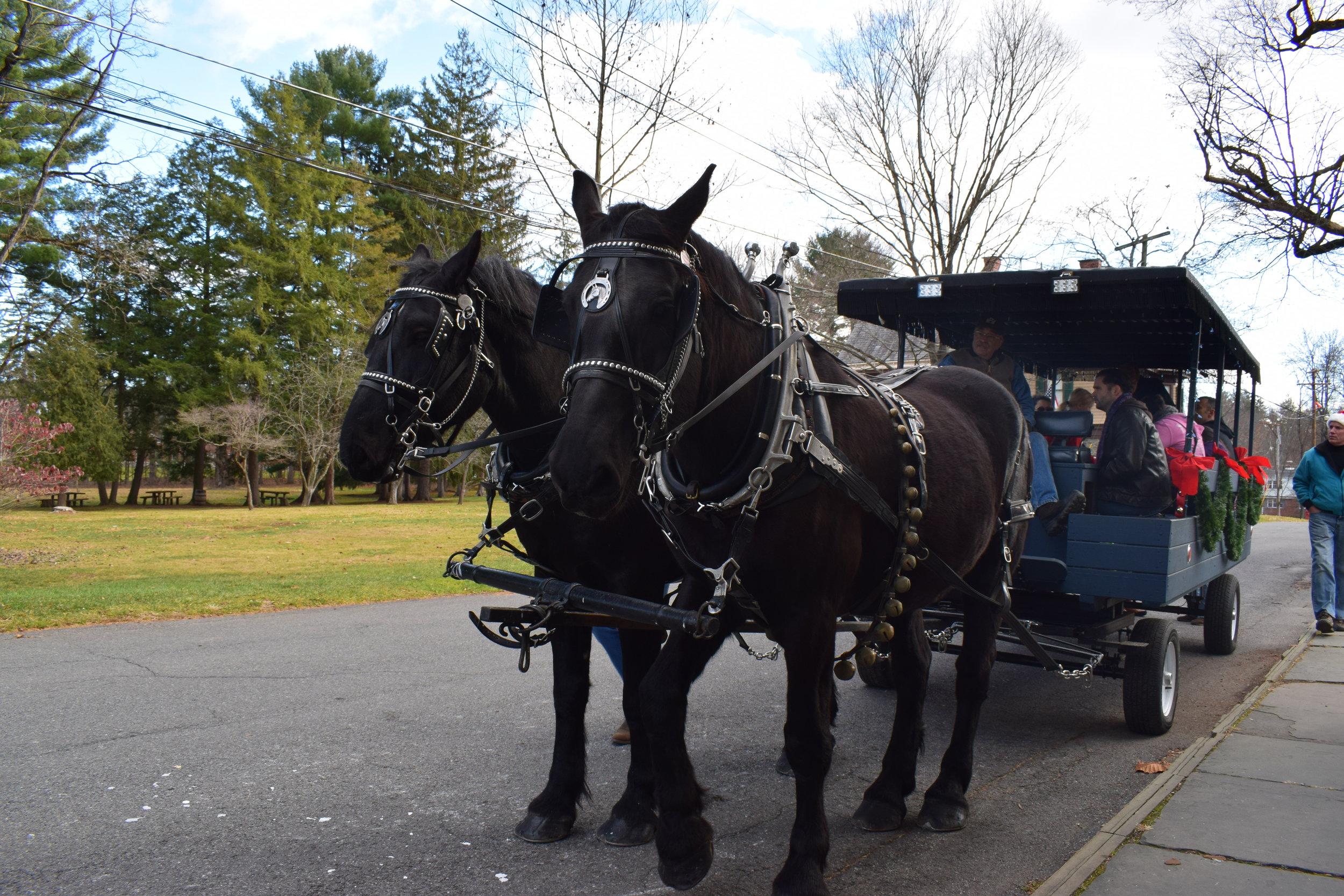 Horse-drawn wagon rides on Huguenot Street