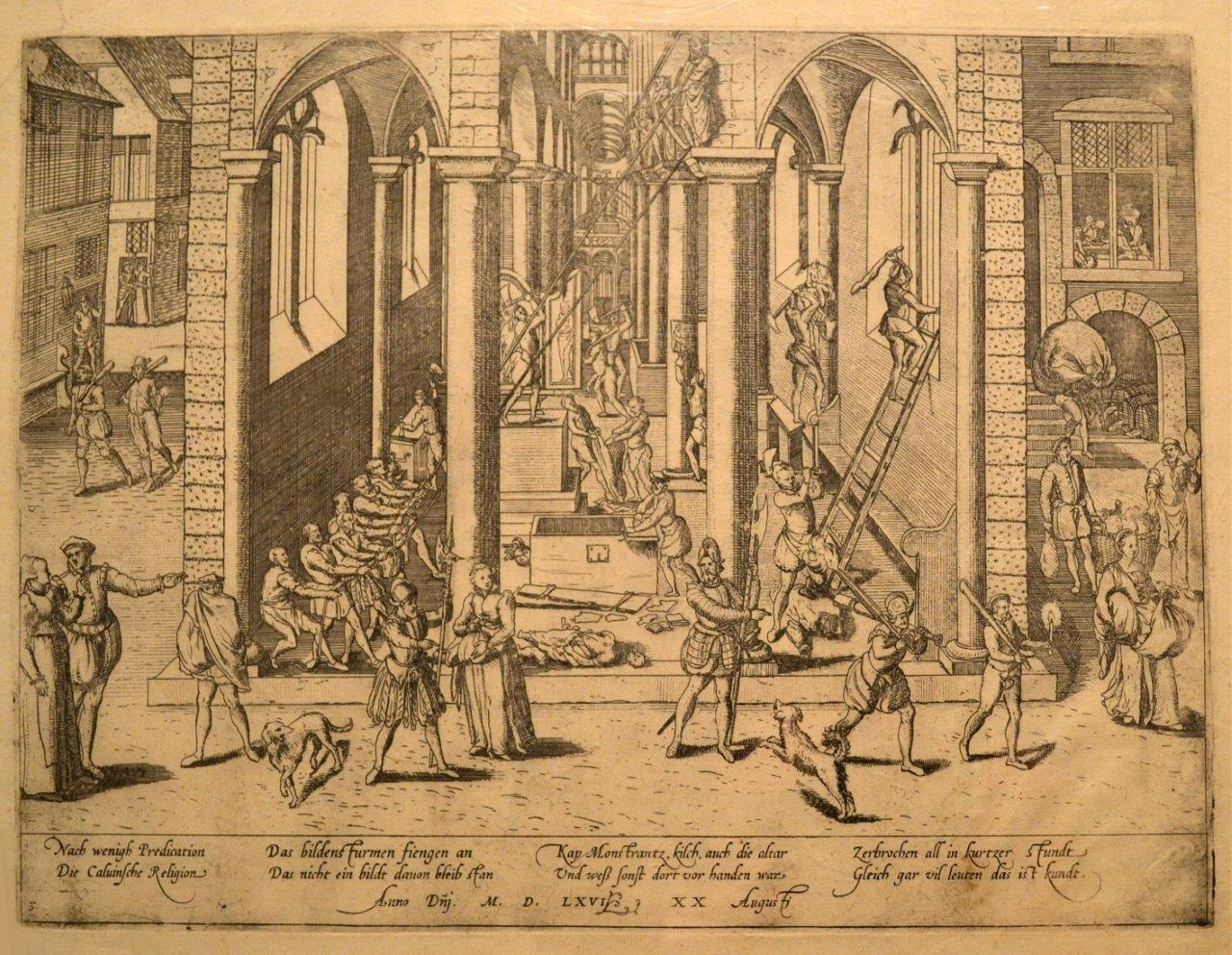 """""""The Iconoclastic Riot of August 20, 1566."""" Copper engraving by Frans Hogenberg (before 1540-1590)"""