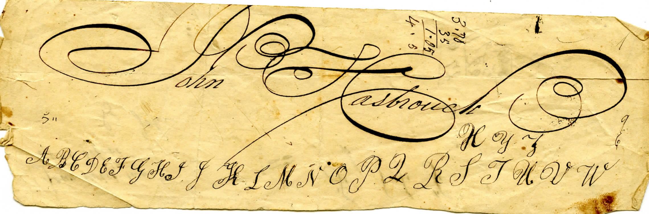 John Hasbrouck signature, Courtesy of the Haviland-Heidgerd Historical Collection.jpg