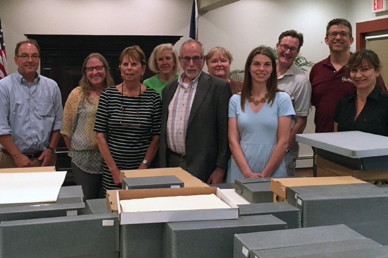 Members of the New Paltz Historical Documents focus group, pictured left to right: New Paltz Town Supervisor Neil Bettez, Jennifer Palmentiero, Firth Fabend, Joan Kelley, David W. Voorhees, Carol Johnson, Carrie Allmendinger, Kevin Cook, Rev. Mark Mast, and Josephine Bloodgood (not pictured Town Clerk Rosanna Mazzaccari and Ashley Trainor). Photo by Ashley Trainor.