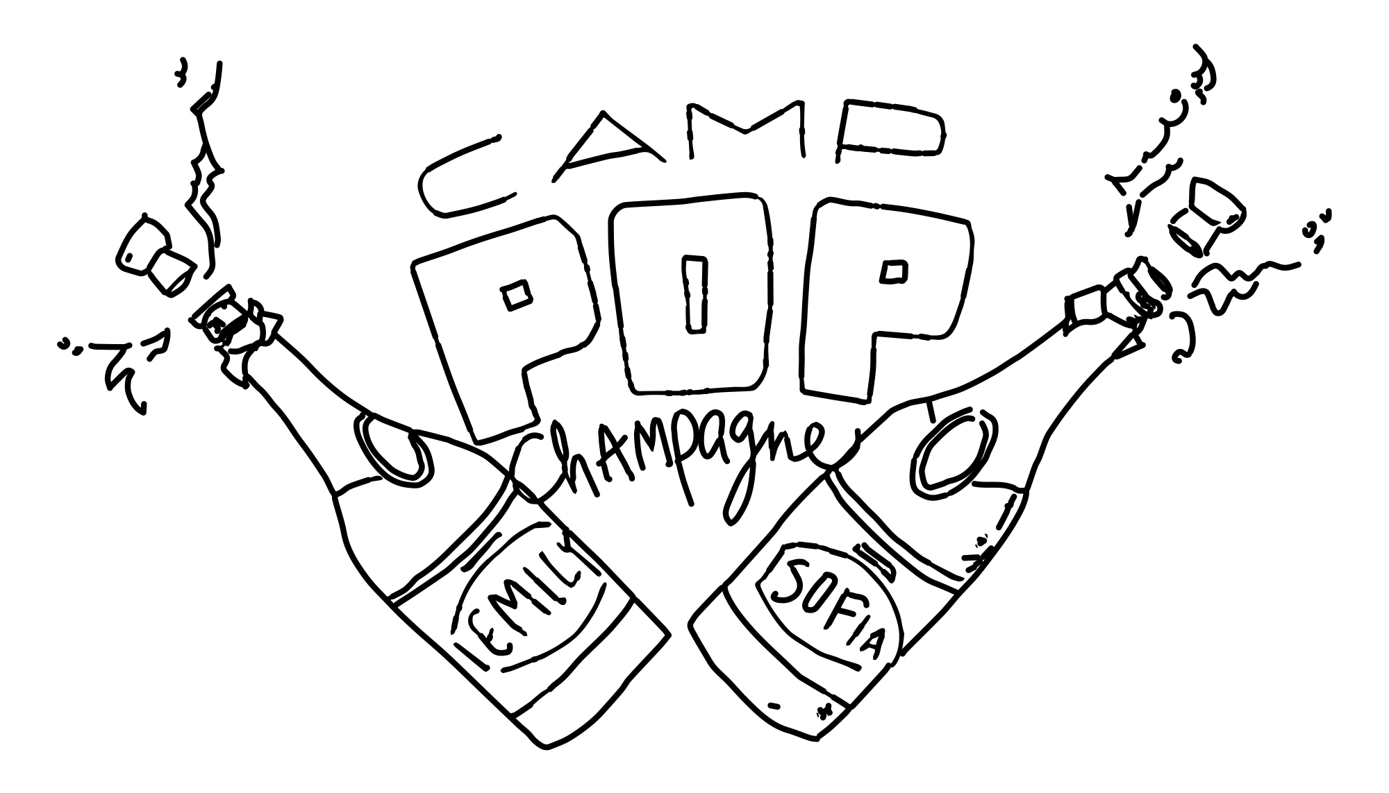 Wedding logo #CampPopChampagne