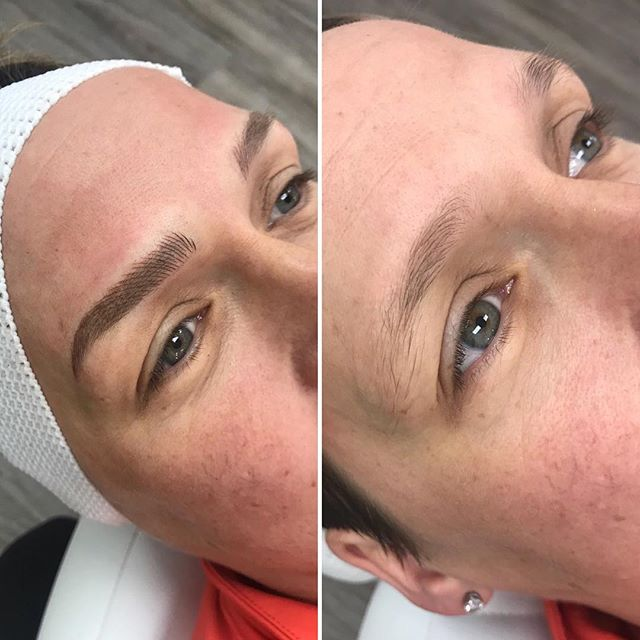"Who doesn't love a good before and after photo! You can create the same look as an eye lift just by making sure your tails don't go below the head of brows. This client felt like her natural hairs went to far down and created a ""drooping"" look. Needless to say, we corrected the issue and gave her the same results as a face lift 👌🏻 . #microbladingworldwide #microbladingworld #microblading #microbladedbrows #microbladingyyc #yycmicroblading #calgarymicroblading #yycbrows #yycbrowsonpoint #yycbrowgame #yycmicropigmentation #calgarymicropigmentation #browcorrection #browgame #browworld #semipermanentbrows #yycsemipermanentmakeup #yycsemipermanentbrows #abhbrows #kbb #abh #kellybakerbrows #desiperkins #chrisspy #beautycon #beautyworld #tinadavies #harmonyblades"