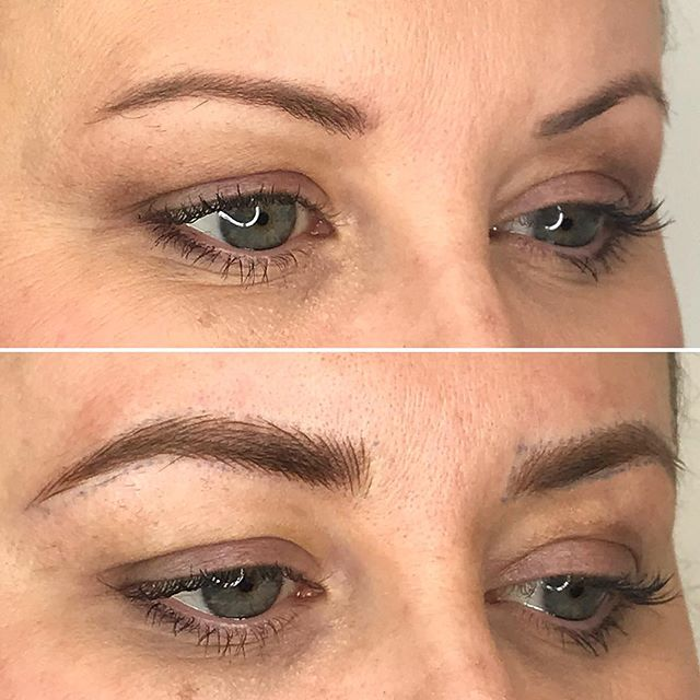 Yesterday's microbladed brows of the day! Microblading is an easy way to update your look, helping you look like a modern woman. Full natural looking brows can't be beat 🙌🏻 using Li Pigments and #17 curved needle from @brownude @brow.box
