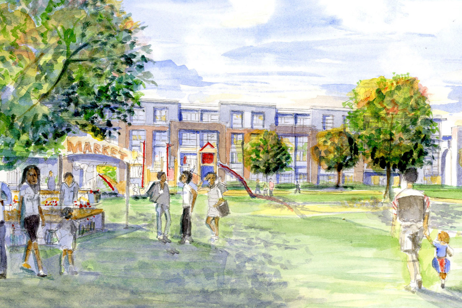 A rendering of the redeveloped Perkins Homes site as viewed from S. Central Avenue.