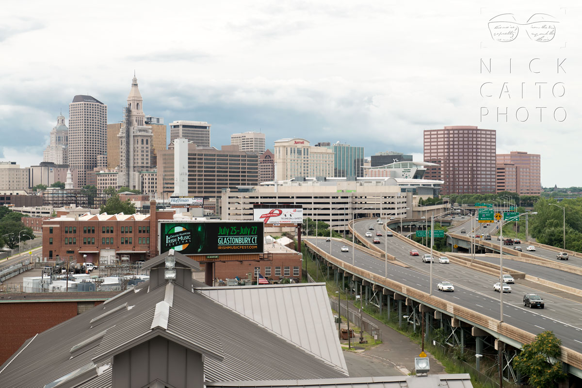 Looking north, toward downtown Hartford. I-91 is to the right.