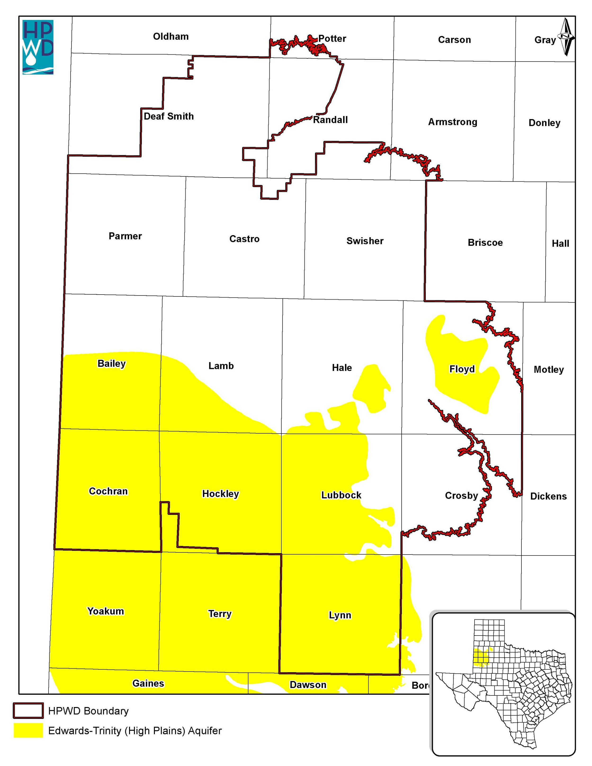 Edwards-Trinity High Plains Aquifer map.  Download map