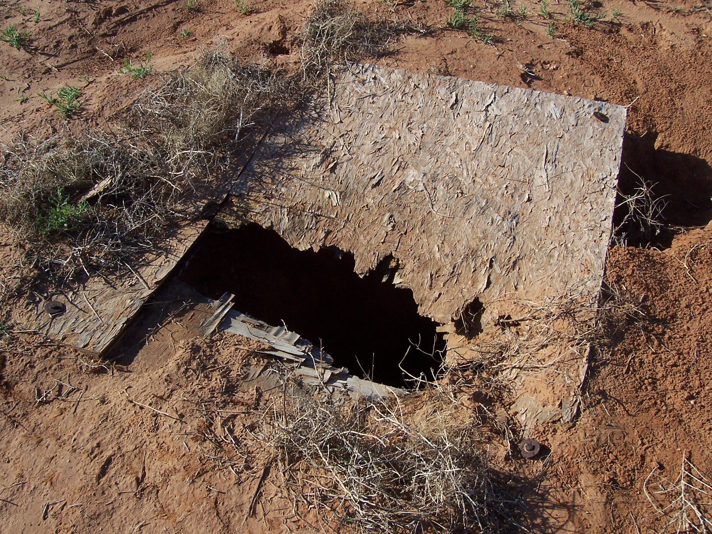 CRUMBLING PARTICLE BOARD COVERS THIS OPEN ABANDONED WELL. THE DEPTH-TO-WATER WAS MEASURED AT 100 FEET AT THE TIME THE WELL WAS DISCOVERED. (hpwd FILE PHOTO)