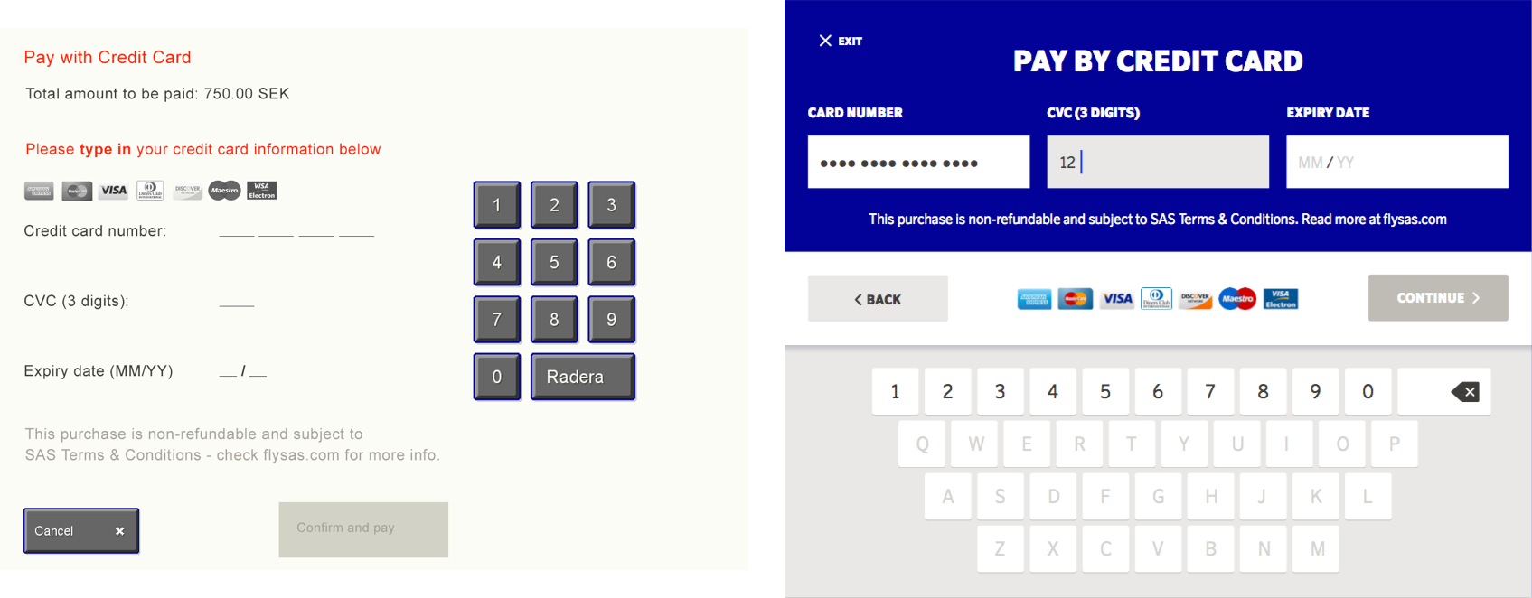 Old vs new design of the payment screen