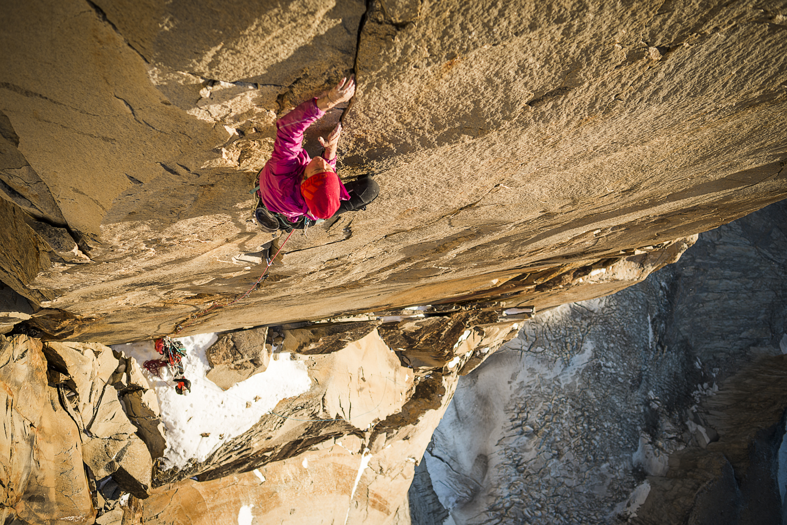 Making the first free ascent of pitch 31, 7c+ of Riders on the storm.  Photo: Thomas Senf