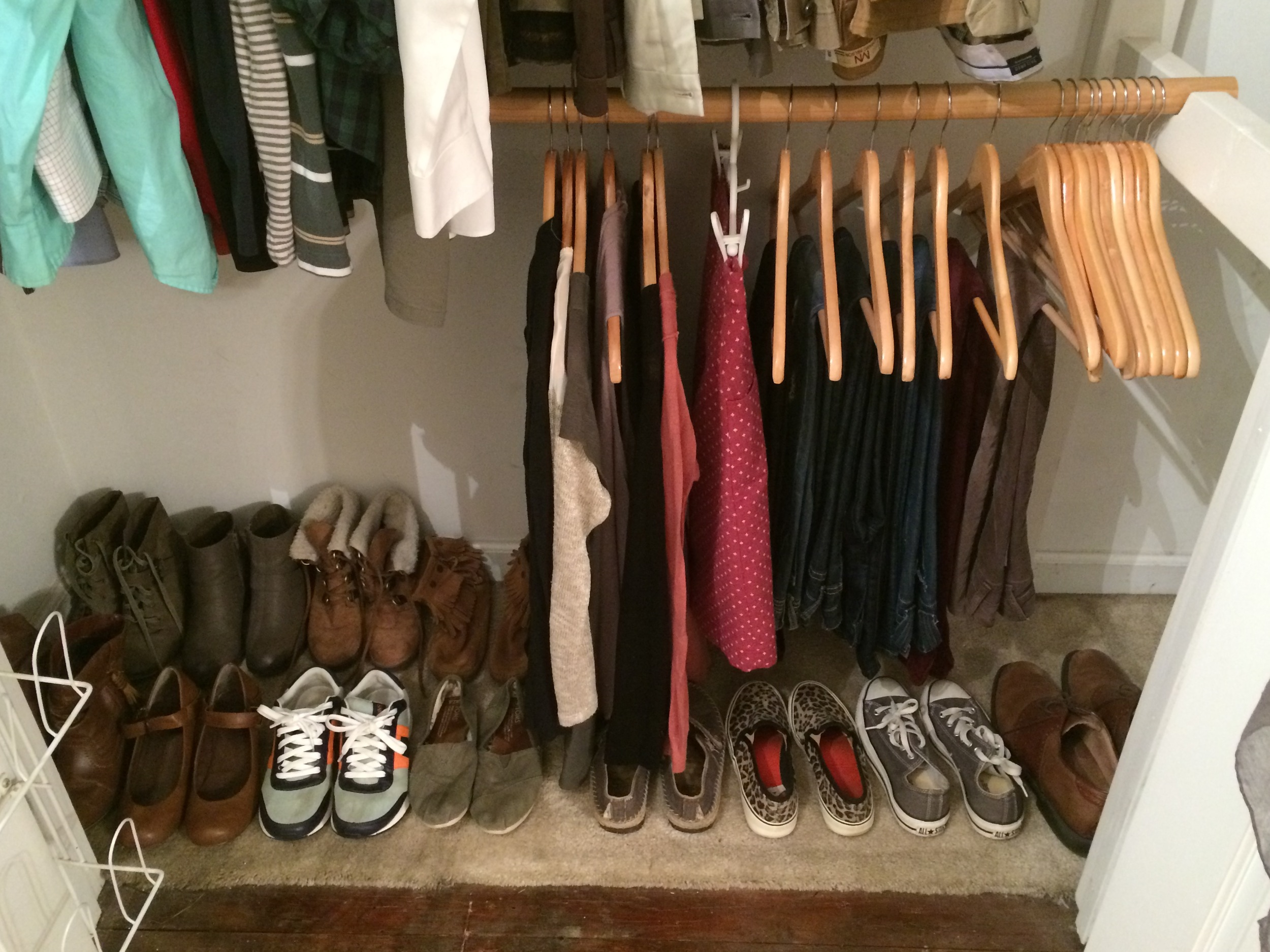 I know my closet's not pretty, but this is real life people. You work with what you've got :)
