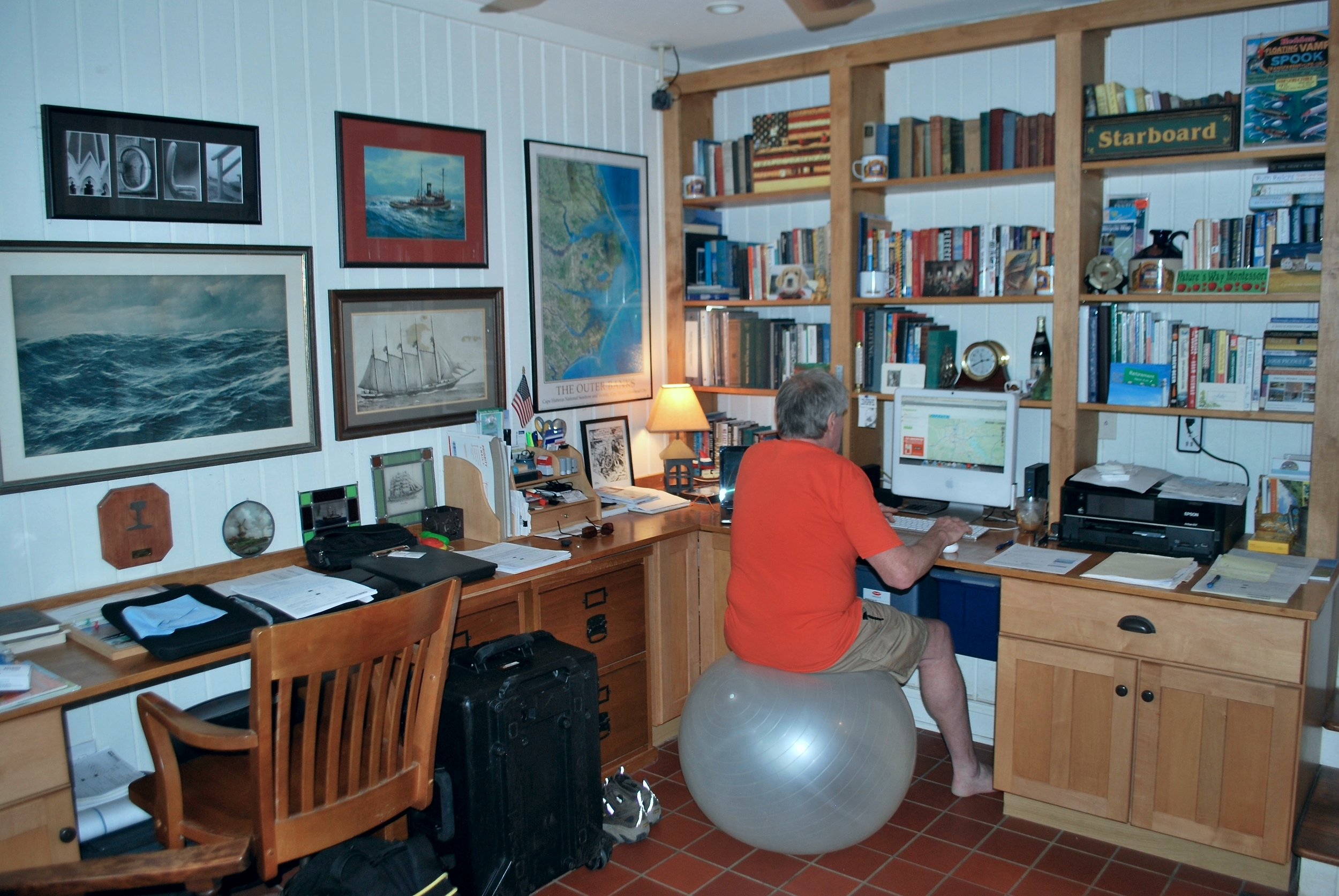 Peter at work in his home office