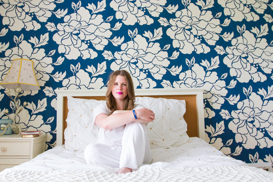 Ashley in her bedroom -- that wallpaper is to die for!  Image by  Texture Photo