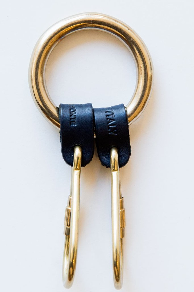 Brass and leather key chain