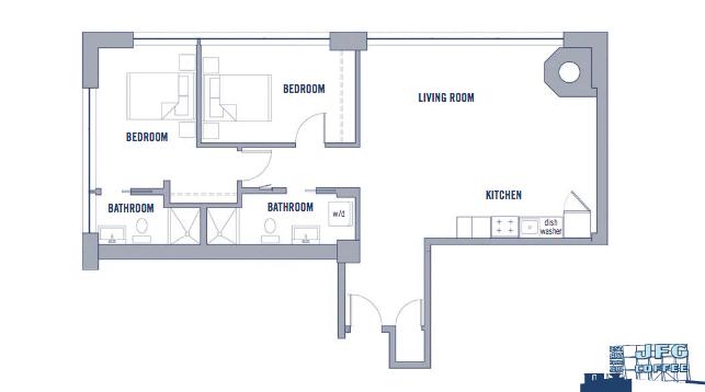 Floor plan: 1100sq ft (2bd/2bth)  Source