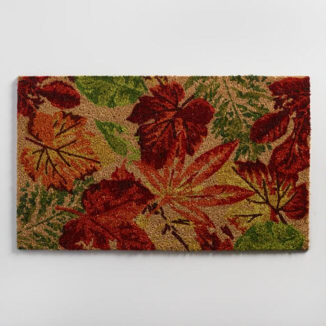 Fall Leaves Coir Doormat // World Market