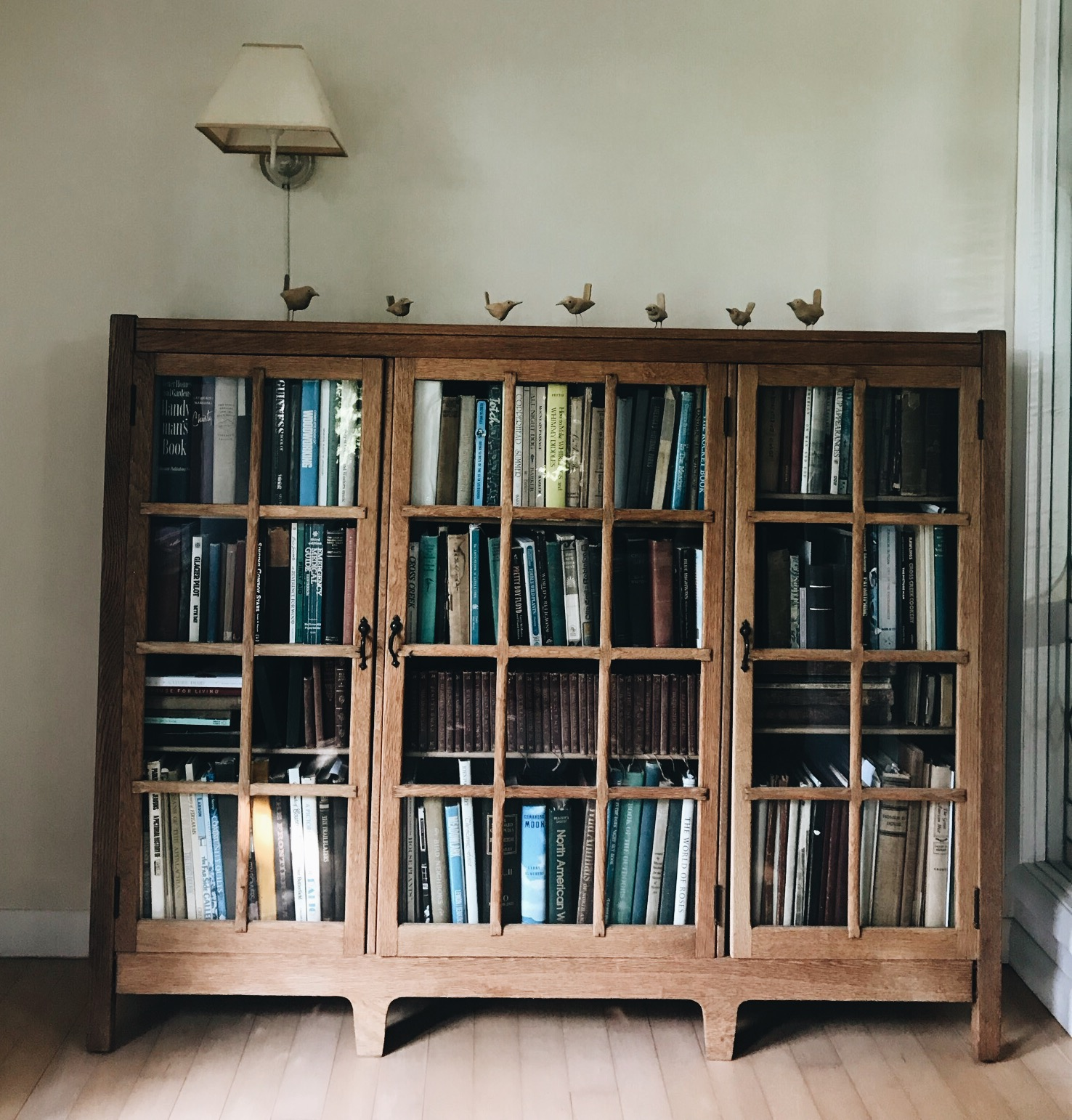 The bookcase is a family heirloom from Barbara's grandparents. The birds sitting on top were hand carved by Hugh.