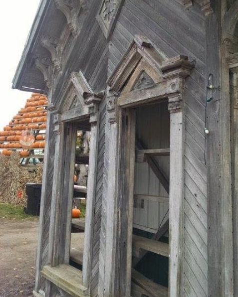 """Of all the salvage he has seen, this piece still haunts him-- he refers to it as """"the one that got away"""". While on a trip in New York he found this gable from an old house and after trying to think through transportation and a plan for the piece, he had to pass it up."""