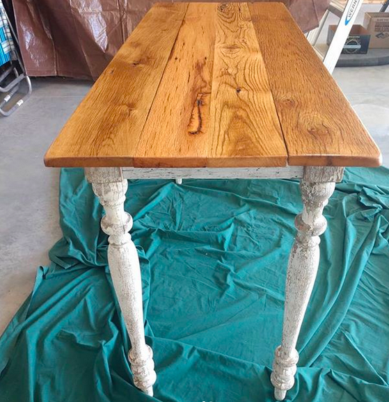 baluster leg sofa table with reclaimed oak tabletop