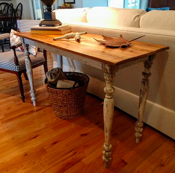"""""""The legs are salvaged balusters from a Victorian house in Virginia. The apron is window trim off a farmhouse in Tennessee and the oak boards for the top are barn wood planed from a barn in Tennessee. This is a table with a story!"""""""