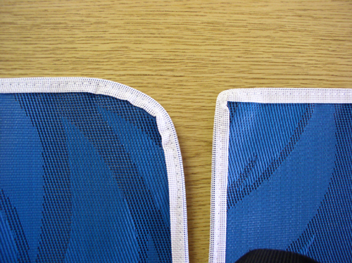 Rounded or Radius Corner on LEFT. Square Corner n RIGHT. As you notice, the difference is subtle when looking at the slings. When on the frame (furniture), the difference is more logical.