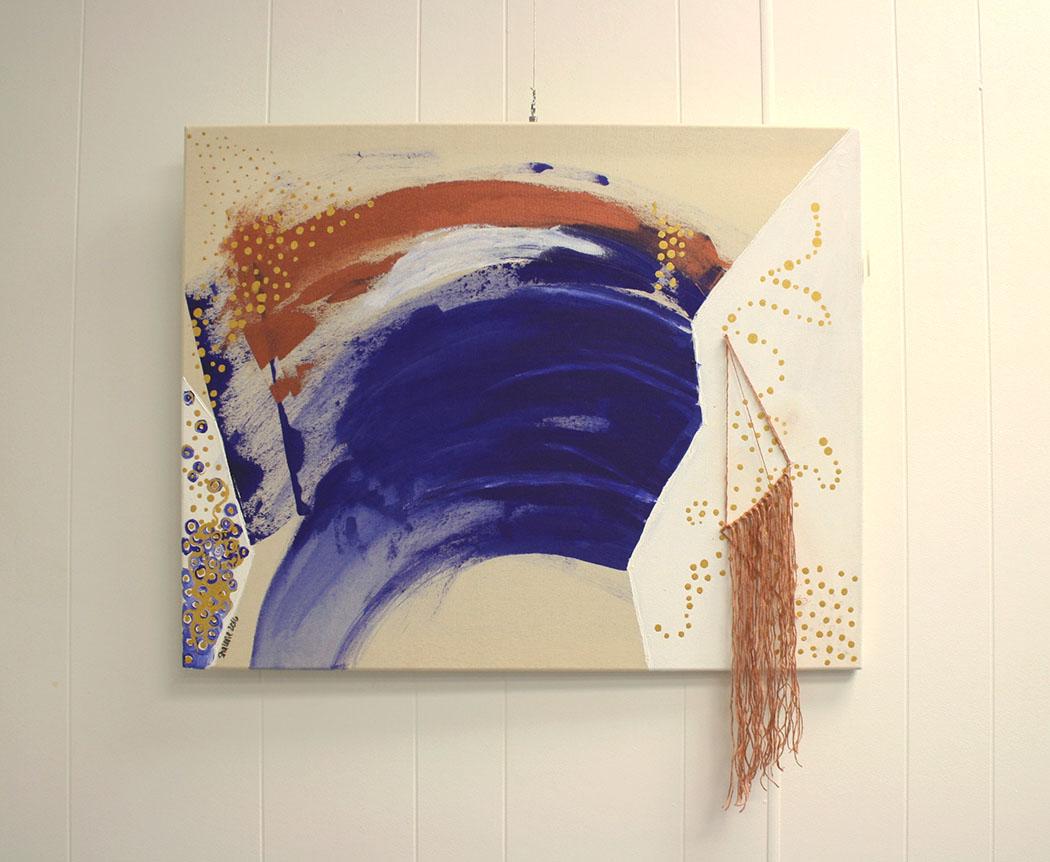acrylic on canvas & fiber
