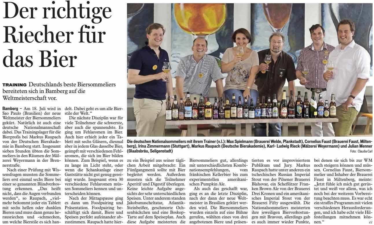 Artikel im Fränkischen Tag Bamberg vom 16.06.2015: Markus Raupach ist der Trainer der deutschen Biersommelier-Nationalmannschaft