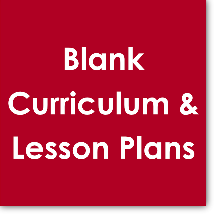 This  Blank Curriculum & Lesson Plans  is a cleaned-up version of the  Example Curriculum & Lesson Plans . It allows you to use the main components of the example, however, introduce your own versions of assignments.