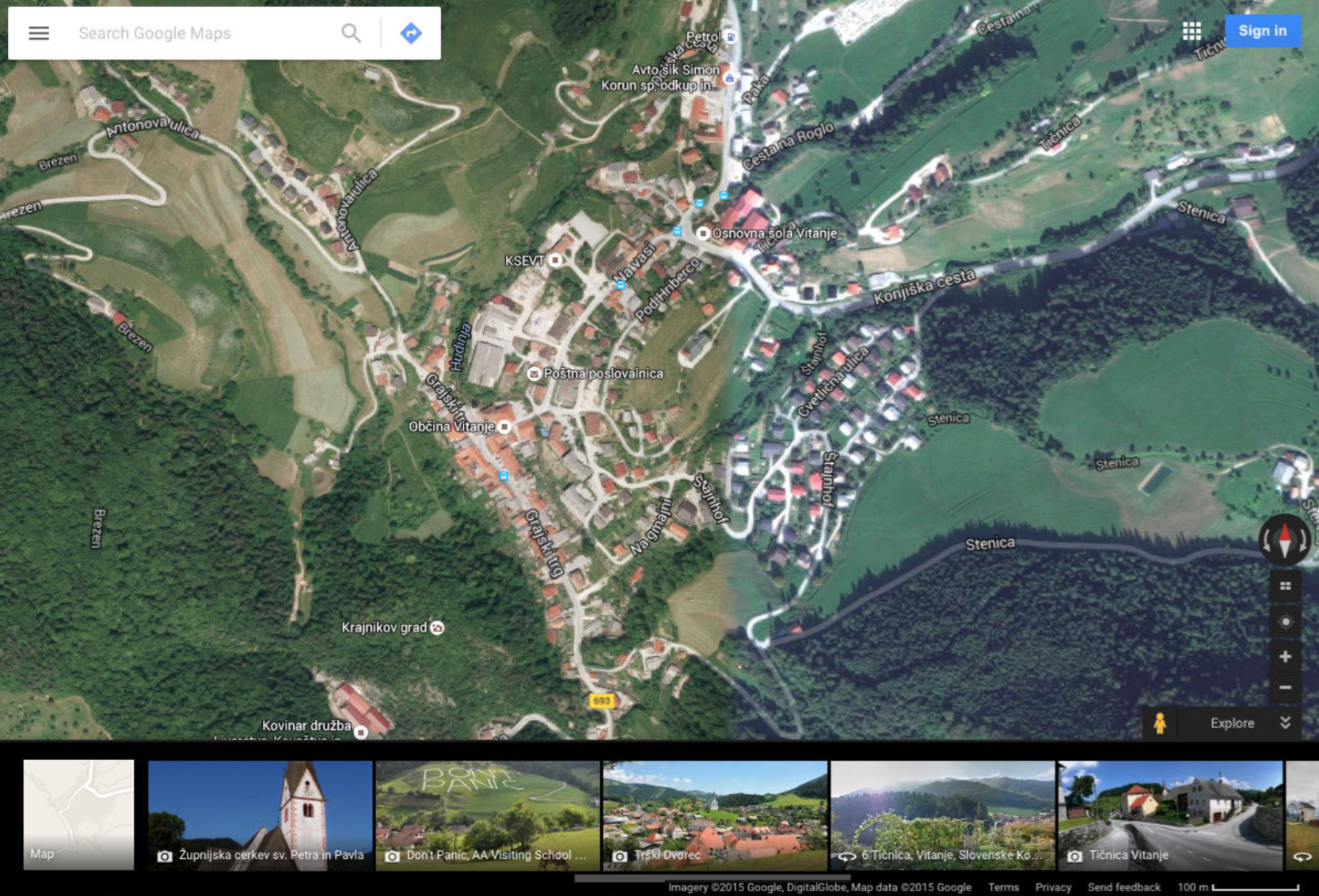The small town of Vitanje has been implemented with the building and institution of KSEVT (Cultural Centre of European Space Technologies) in 2012. KSEVT has changed the life of Vitanje quite radically and placed Vitanje on the global map... But, until today, the digital imagery of Google Maps satellite photo database has not been updated and still shows the old local community building that was standing on the place of KSEVT. We took this opportunity to run a project of producing the updated orthophoto image of the area of Vitanje with KSEVT.