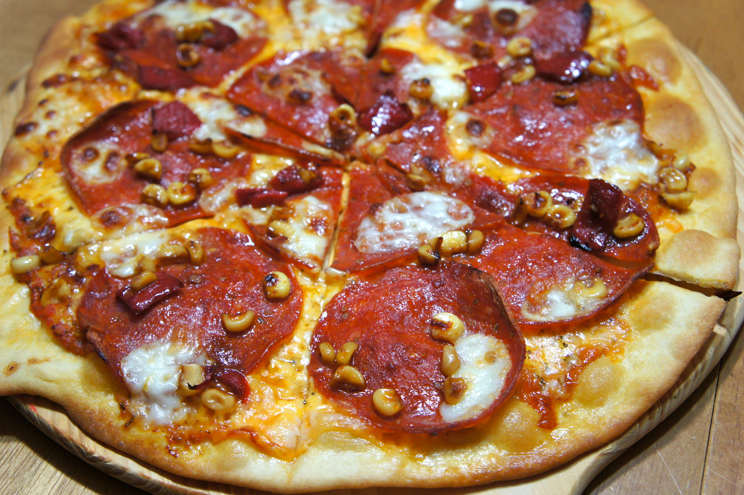 Roasted Corn Pepperoni Pizza
