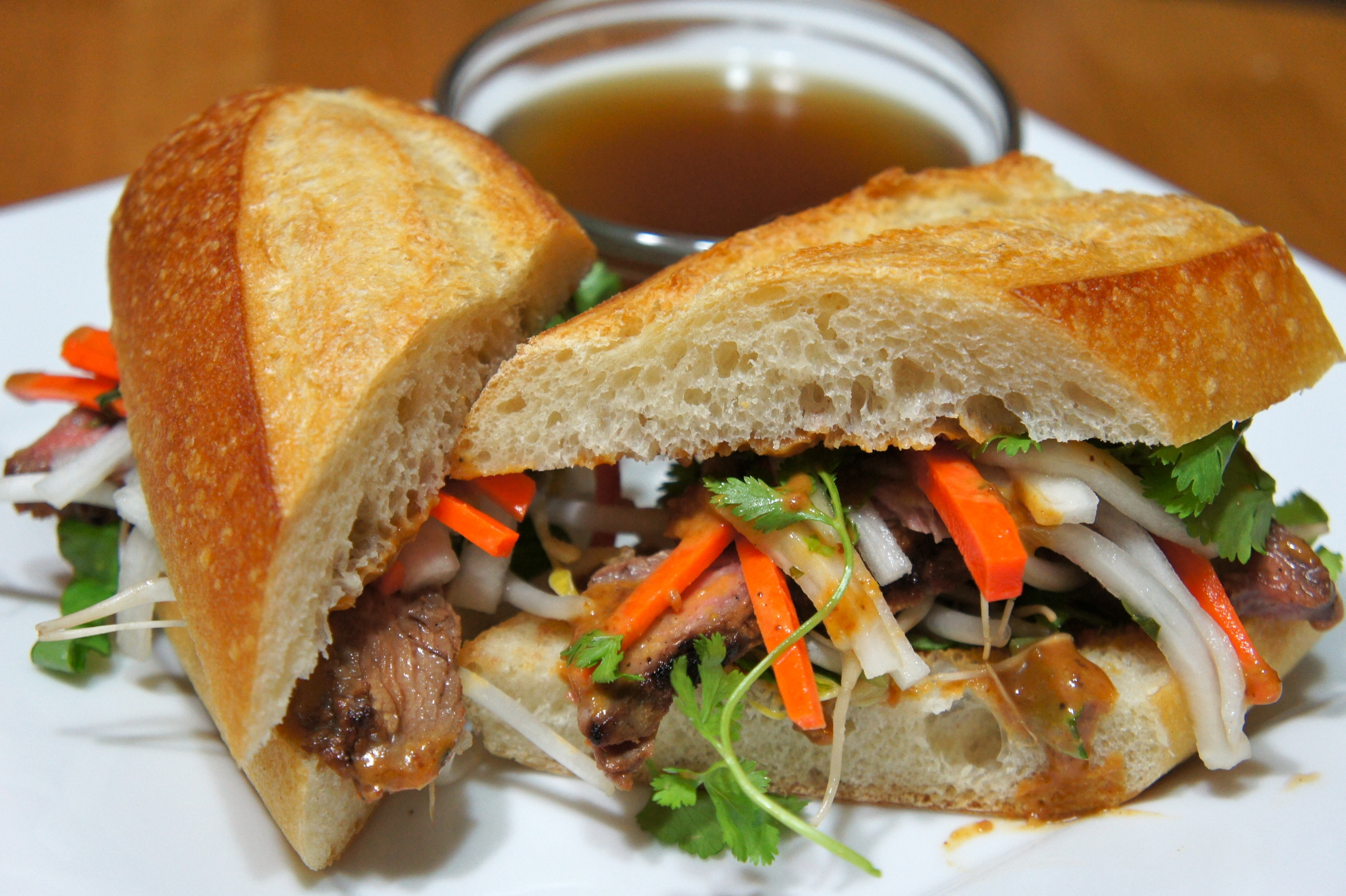 Pho Bahn Mi Dip with Pickled Veg and Pho Broth